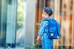 Retrato del escolar lindo con la mochila Imagen de archivo