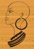 Retrato del esquema de la muchacha tribal africana hermosa ilustración del vector
