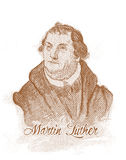 Retrato del estilo del grabado de Martin Luther ilustración del vector