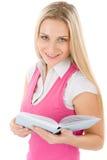 Retrato del estudiante feliz con el libro Fotos de archivo
