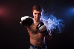 Retrato del estudio de un boxeador muscular en guantes profesionales del Eu foto de archivo libre de regalías