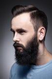 Retrato del estudio del hombre barbudo elegante; Foto de archivo libre de regalías