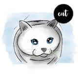 Retrato del gato de la acuarela Imagen de archivo libre de regalías