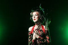 Retrato del geisha con maquillaje y el peinado tradicionales Foto de archivo libre de regalías