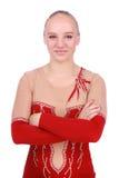 Retrato del gimnasta hermoso de la muchacha en un traje imagen de archivo