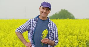 Retrato del granjero feliz Holding Rapeseed Blossoms en la granja almacen de metraje de vídeo