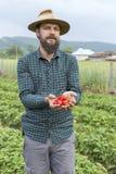 Retrato del granjero joven en un campo de la fresa que presenta su ha foto de archivo