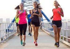 Retrato del grupo de amigos que corren en el parque Imagen de archivo