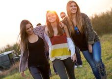Retrato del grupo de amigos que se divierten en campo Foto de archivo