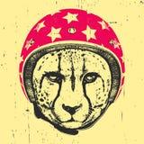Retrato del guepardo con el casco ilustración del vector