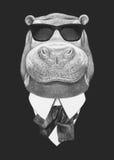 Retrato del hipopótamo en traje Foto de archivo libre de regalías