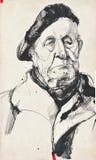 Retrato del hombre con la boina stock de ilustración