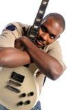 Retrato del hombre con la guitarra Foto de archivo libre de regalías