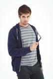 Retrato del hombre confiado que sostiene la maquinilla de afeitar recta del borde Foto de archivo libre de regalías