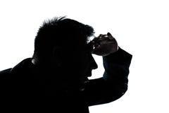 Retrato del hombre de la silueta que mira gesto delantero Foto de archivo libre de regalías