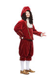 Retrato del hombre de las Edades Medias en traje rojo Imágenes de archivo libres de regalías