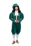 Retrato del hombre de las Edades Medias en traje rojo Imagen de archivo