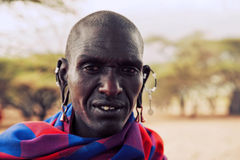 Retrato del hombre de Maasai en Tanzania, África Fotografía de archivo libre de regalías