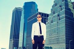 Retrato del hombre de negocios americano joven en Nueva York Fotos de archivo libres de regalías