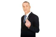 Retrato del hombre de negocios con la bombilla Fotografía de archivo