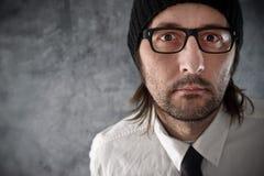 Retrato del hombre de negocios con mirada nerviosa imágenes de archivo libres de regalías