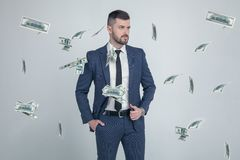 Retrato del hombre de negocios elegante con los billetes de banco de la caída del dólar en fondo gris vestido en un traje con un  imagenes de archivo