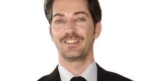 Retrato del hombre de negocios en blanco almacen de metraje de vídeo