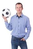 Retrato del hombre de negocios envejecido centro con el balón de fútbol aislado encendido foto de archivo libre de regalías