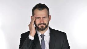Retrato del hombre de negocios Gesturing Headache, tensión de la barba almacen de metraje de vídeo