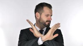 Retrato del hombre de negocios Gesturing Rejection, denegación de la barba metrajes