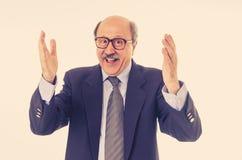 Retrato del hombre de negocios mayor feliz que celebra éxitos de la gran idea imagenes de archivo