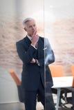 Retrato del hombre de negocios mayor hermoso en la oficina moderna Imagenes de archivo