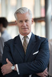 Retrato del hombre de negocios mayor hermoso en la oficina moderna Fotos de archivo