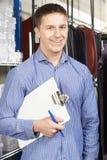 Retrato del hombre de negocios Running Fashion Business en Warehouse fotos de archivo libres de regalías
