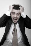 Retrato del hombre de negocios tensionado enojado Imagen de archivo libre de regalías
