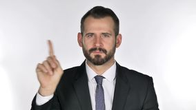 Retrato del hombre de negocios Waving Finger de la barba a rechazar almacen de metraje de vídeo