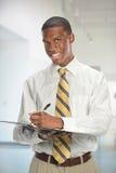 Retrato del hombre de negocios Writing Foto de archivo