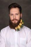 Retrato del hombre del Año Nuevo, barba larga con las decoraciones de la Navidad Fotografía de archivo