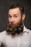 Retrato del hombre del Año Nuevo, barba larga con los conos de la Navidad Imagen de archivo libre de regalías