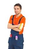 Retrato del hombre del trabajador de la limpieza Foto de archivo libre de regalías