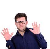 Retrato del hombre joven asustado aislado en blanco Imagen de archivo libre de regalías