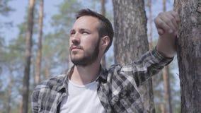 Retrato del hombre joven barbudo hermoso en el bosque del pino, mirando en la cámara y el primer sonriente Unidad con salvaje almacen de metraje de vídeo