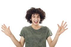 Retrato del hombre joven sorprendido Imagen de archivo
