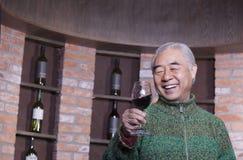 Retrato del hombre mayor sonriente que sostiene la copa en una degustación de vinos Fotos de archivo