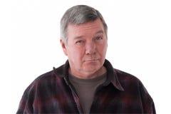 Retrato del hombre mayor triste, aislado en blanco. Imágenes de archivo libres de regalías