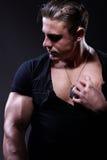 Retrato del hombre muscular hermoso joven Imagenes de archivo