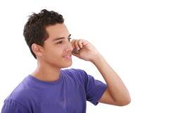 Retrato del hombre que habla en el teléfono celular Imágenes de archivo libres de regalías