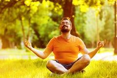 Retrato del hombre que medita feliz con la barba en un parque del verano Imagen de archivo