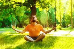Retrato del hombre sonriente feliz que medita en un parque del verano Imagen de archivo