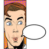 Retrato del hombre sorprendido Hombre de negocios sorprendido Hombre sorprendido Idea del concepto del anuncio y del promo Arte p Fotos de archivo libres de regalías